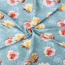 Барби принт - коралловые розы на ментоле